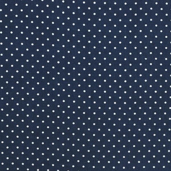 Tissu voile de viscose pois bleu marine © Eyrelles Tissus