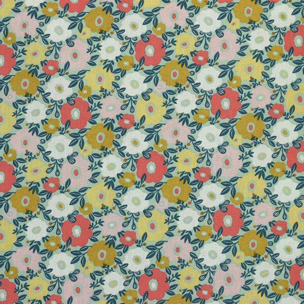 Tissu coton imprimé popeline Camille vert menthe © Eyrelles Tissus