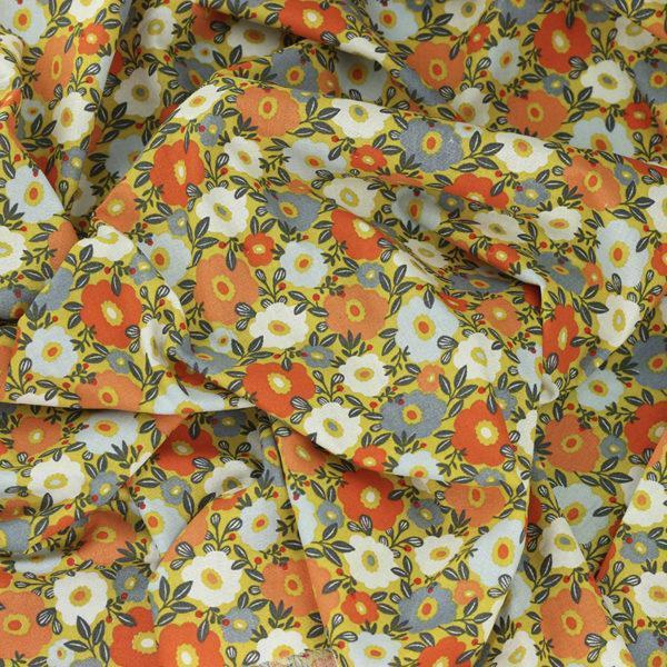 Tissu coton imprimé popeline Camille jaune © Eyrelles Tissus