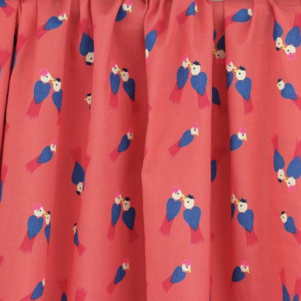 Tissu batiste coton imprimé Les inséparable Rose Corail © Eyrelles Tissus