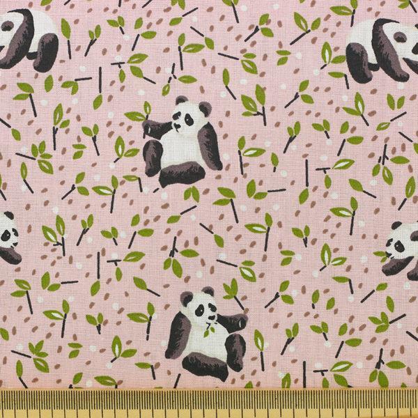 Tissu coton imprimé popeline Panda TAO rose © Eyrelles Tissus
