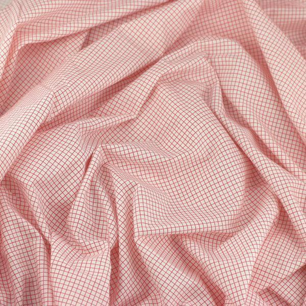 """Tissu popeline de coton imprimé """"Carreaux - Blanc et Rouge"""" © Eyrelles Tissus"""