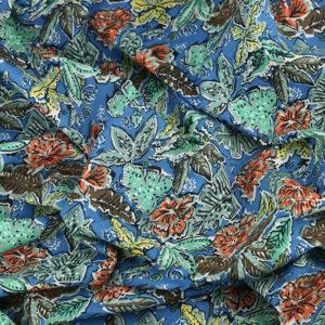 Tissu batiste coton imprimé Jungle Bleu © Eyrelles Tissus