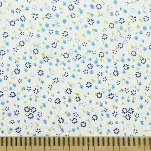 "Tissu batiste coton imprimé ""Petites fleurs - Bleu"" © Eyrelles Tissus"