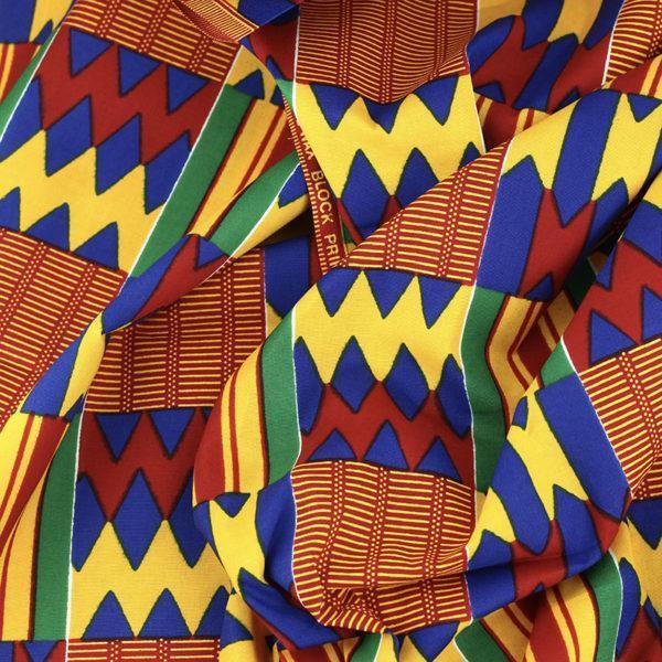 tissu wax africain hitarget motif Congo rouge et Jaune © Eyrelles Tissus