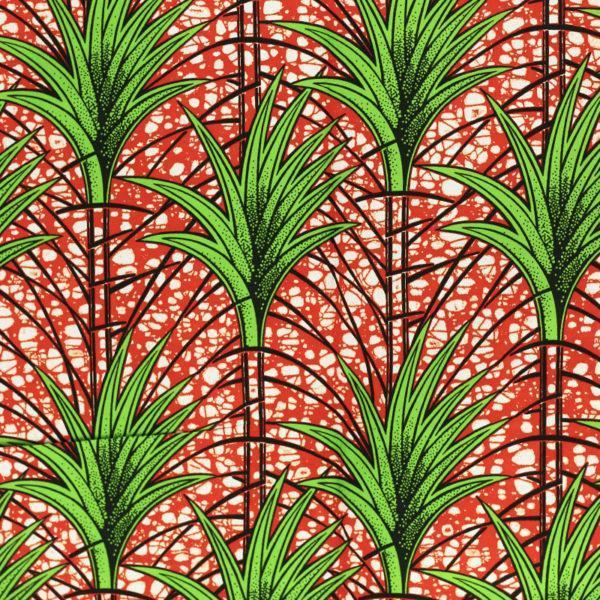 tissu wax africain hitarget motif Chelif Orange et vert© Eyrelles Tissus