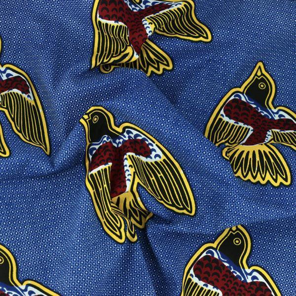 "tissu wax africain hitarget motif ""Bird - Jaune et Bleu"" © Eyrelles Tissus"