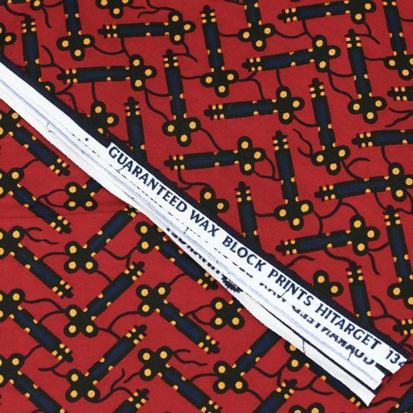 tissu wax africain hitarget motif Betsiboka Rouge et noir © Eyrelles Tissus
