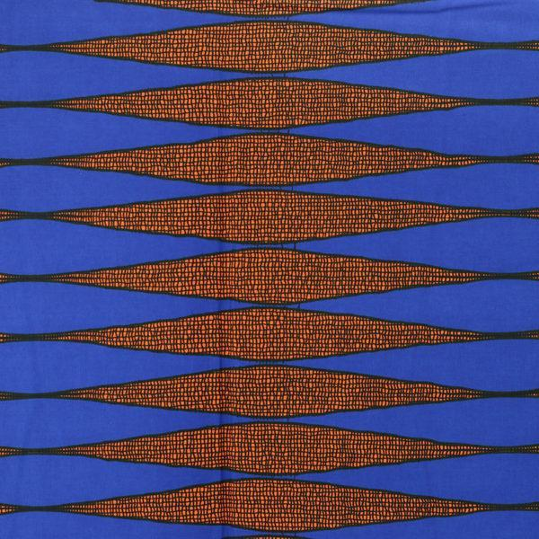 tissu wax africain hitarget motif Mono bleu et orange © Eyrelles Tissus