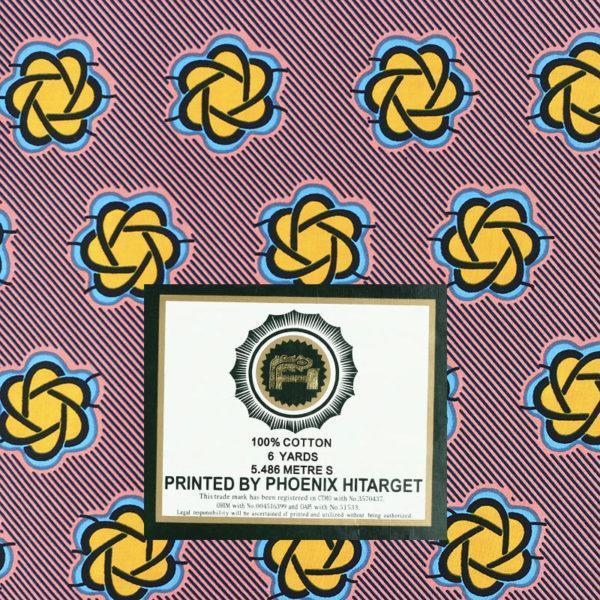tissu wax africain hitarget motif Volta jaune et rose © Eyrelles Tissus