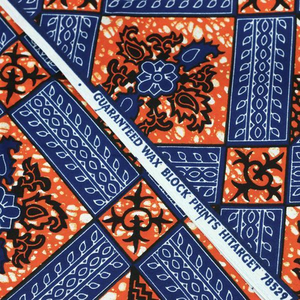 tissu wax africain Hitarget motif Kwango Orange et bleu © Eyrelles Tissus