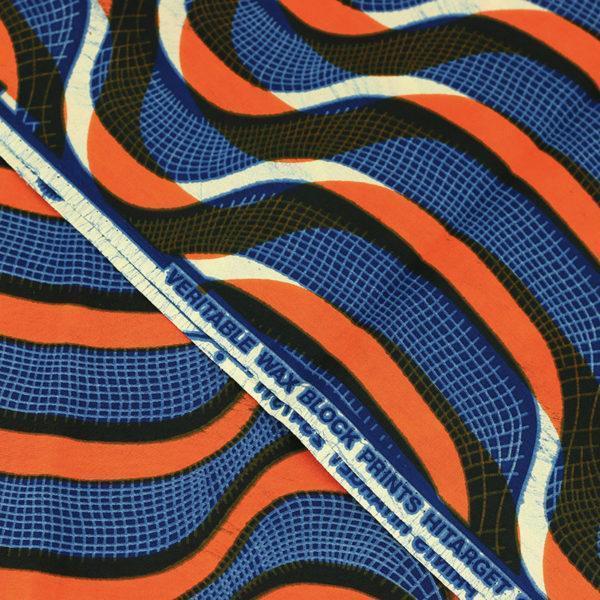 tissu wax africain hitarget motif Okavango Orange et bleu © Eyrelles Tissus