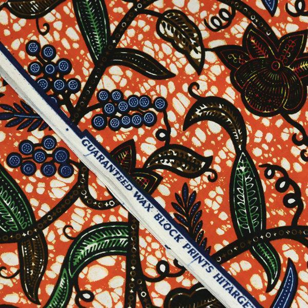 tissu wax africain Hitarget motif Gombo Orange © Eyrelles Tissus
