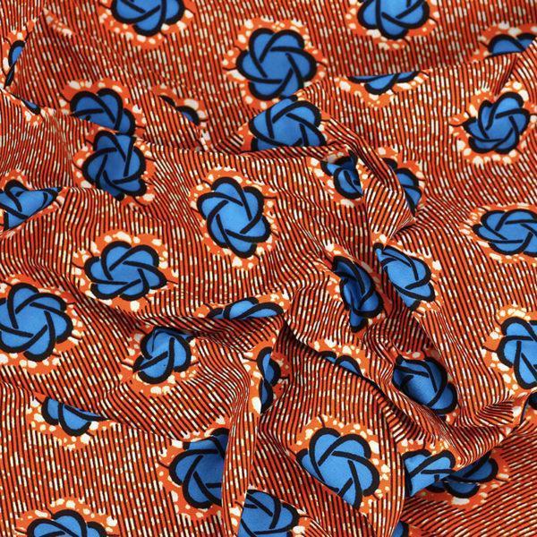 tissu wax africain hitarget motif bleu et orange © Eyrelles Tissus