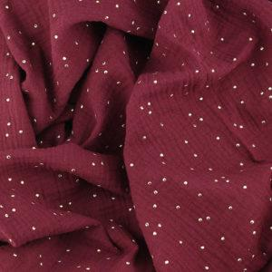 Tissu double gaze pois dorés prune © Eyrelles Tissus