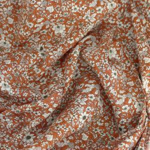Tissu coton imprimé popeline Jeanne cuivre © Eyrelles Tissus