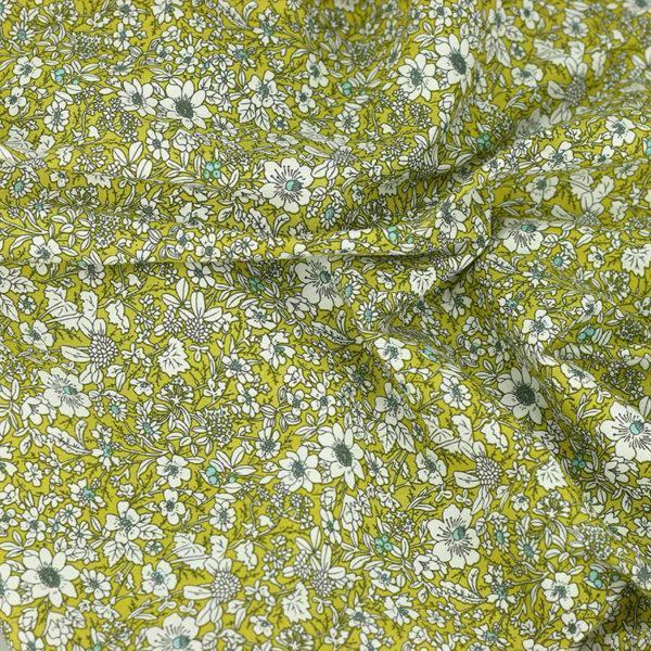 Tissu coton imprimé popeline Jeanne vert anis © Eyrelles Tissus