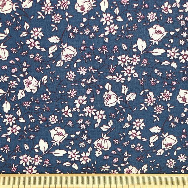 Tissu coton imprimé popeline Romane Bleu Marine © Eyrelles Tissus