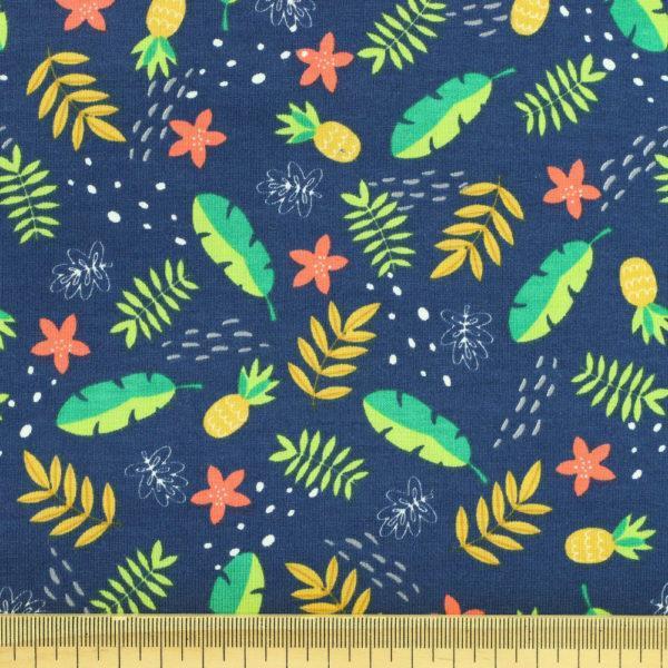 Tissu Jersey de coton oeko tex jungle bleu bleu © Eyrelles Tissus