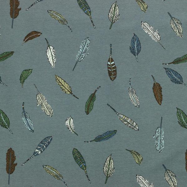 Tissu Jersey de coton Plumes Indiennes Gris © Eyrelles Tissus
