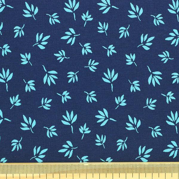 Tissu Jersey de coton oekotex feuillage bleu © Eyrelles Tissus