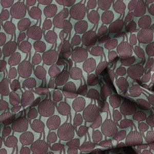 Tissu coton imprimé Akena prune © Eyrelles Tissus