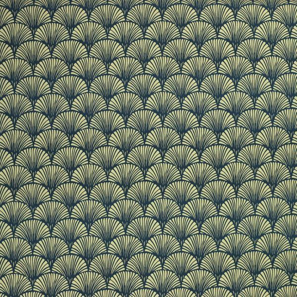 Tissu coton imprimé Kyoto bleu © Eyrelles Tissus