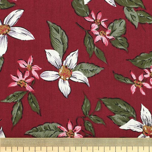 Tissu coton imprimé Tahaa Rouge Bordeaux © Eyrelles Tissus