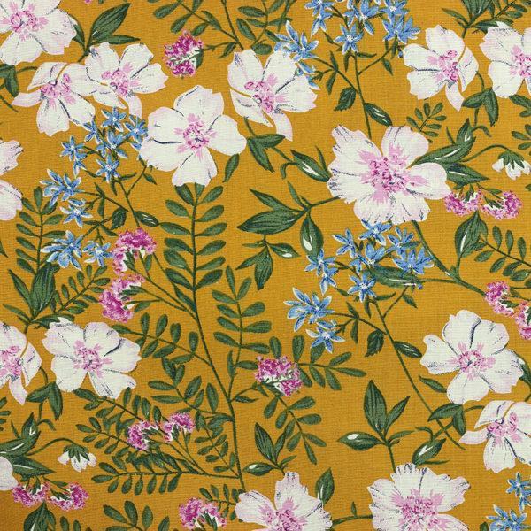 Tissu coton imprimé Paola Jaune Moutarde© Eyrelles Tissus