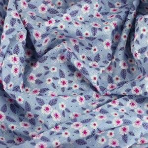 Tissu coton imprimé Cosmos Bleu ciel © Eyrelles Tissus