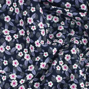 Tissu coton imprimé Cosmos Bleu Marine © Eyrelles Tissus