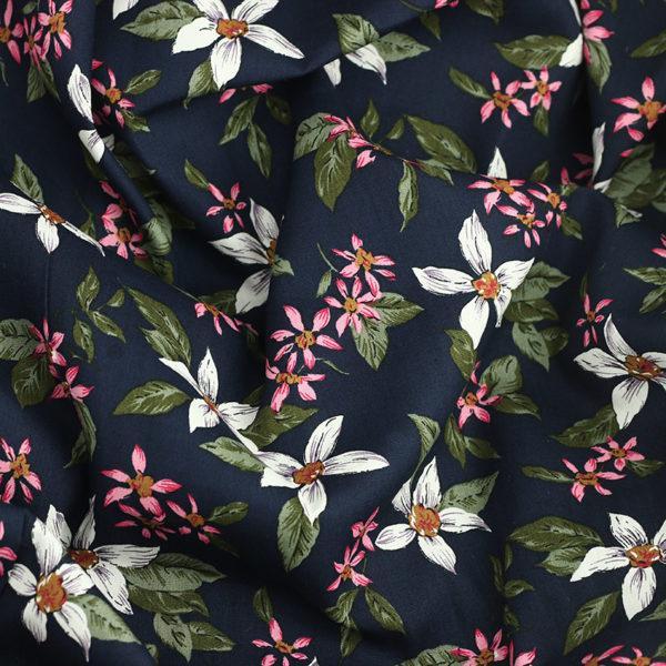 Tissu coton imprimé Tahaa Bleu © Eyrelles Tissus