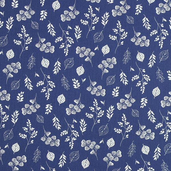 Tissu coton imprimé oeko tex feuilletine bleu © Eyrelles Tissus