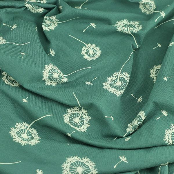 Tissus Jersey coton oeko tex Pissenlit vert © Eyrelles Tissus