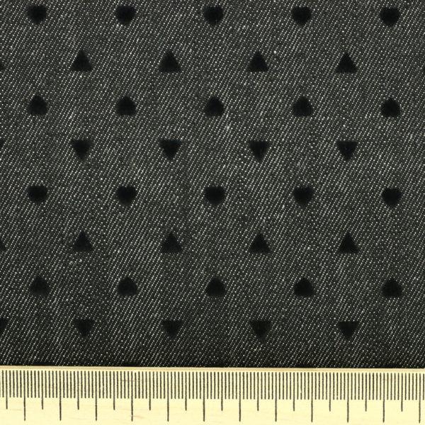 Tissu jeans denim Karl Heart Noir © Eyrelles Tissus