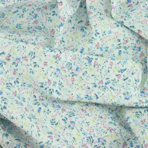 Tissu coton imprimé popeline Flos Blanc © Eyrelles Tissus