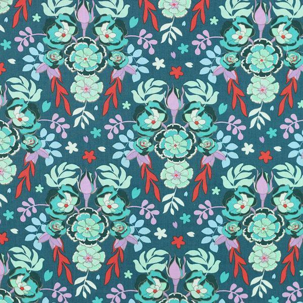 Tissu coton imprimé Flores Vert Canard © Eyrelles Tissus