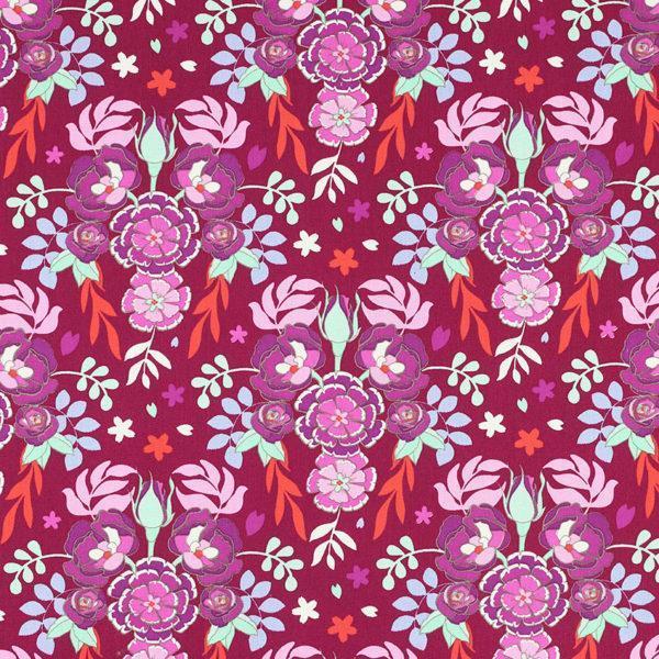 Tissu coton imprimé Flores Rouge Bordeaux © Eyrelles Tissus