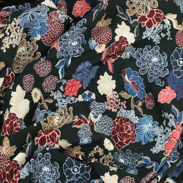 Tissus Jersey coton imprimé Nagoya Noir © Eyrelles Tissus