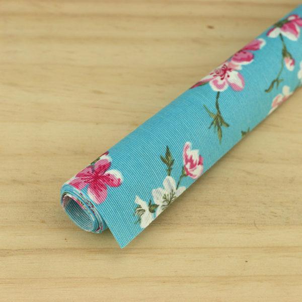 """Tissus Toile enduite polycoton """"Cerisier Japonais - Bleu"""" l © Eyrelles tissus"""