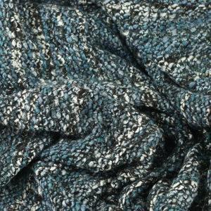 "Tissus Lainage Italien ""Maille - Bleu"" lurex © Eyrelles Tissus"