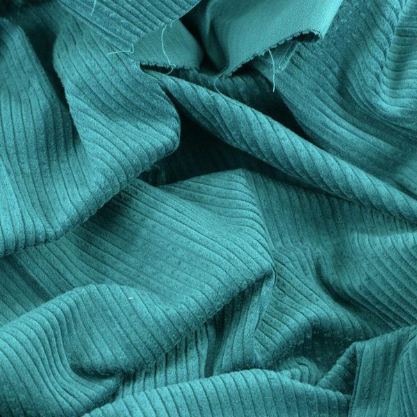 "Tissu velours côtelé ""Victor - Bleu Canard"" © Eyrelles Tissus"