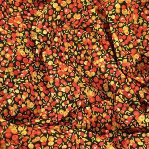 Tissu coton imprimé Baie Sauvage Jaune Moutarde © Eyrelles Tissus