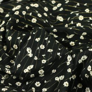 """Tissu Viscose Lurex """"Floretta - Noir"""" © Eyrelles Tissus"""