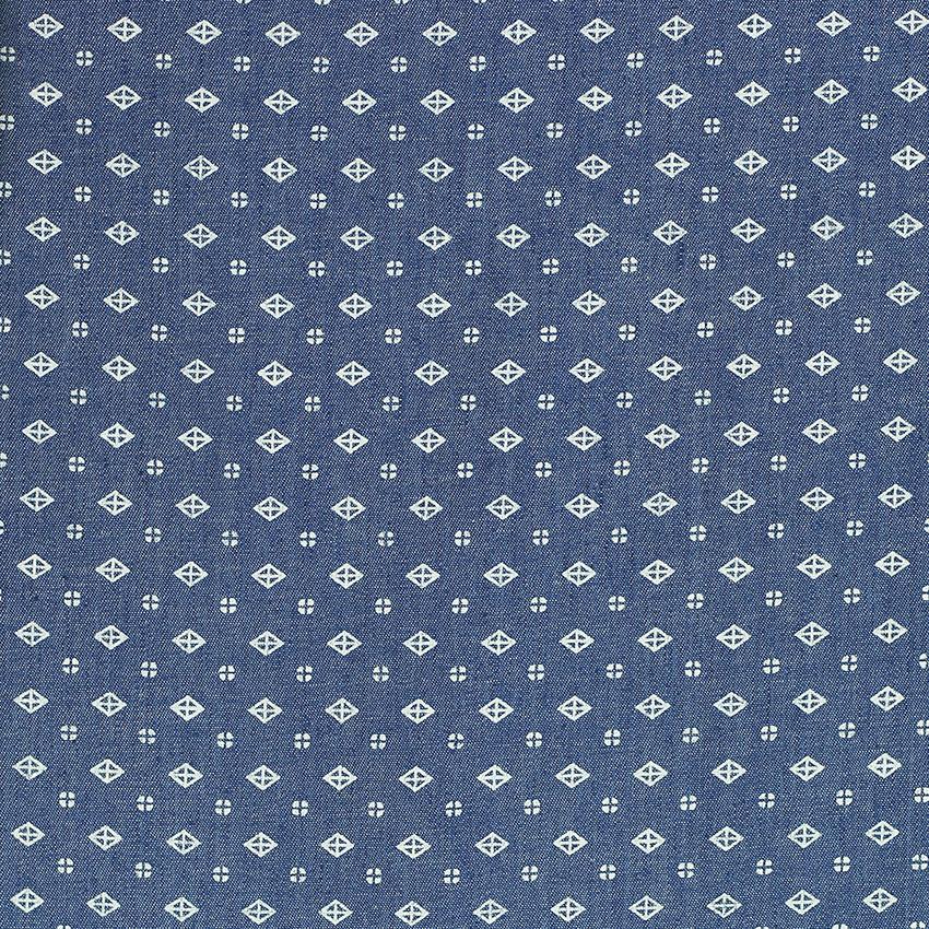 Tissu Chambray losange bleu jeans © Eyrelles tissus