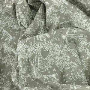 Tissu coton imprimé popeline Gazelle Gris Sable © Eyrelles Tissus