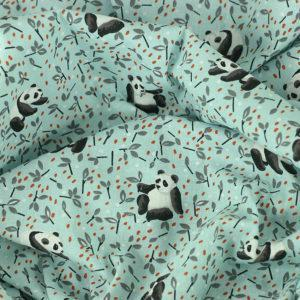 Tissu coton imprimé popeline Panda TAO bleu © Eyrelles Tissus