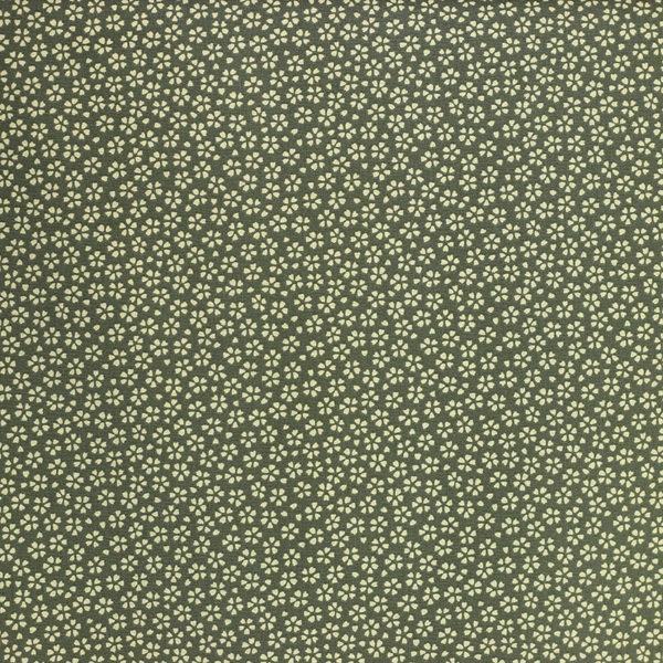Tissu coton imprimé popeline Myosotis Vert Olive © Eyrelles Tissus
