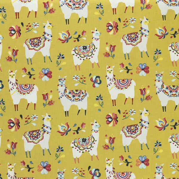 Tissu coton imprimé popeline Lama Ciez Moutarde © Eyrelles Tissus