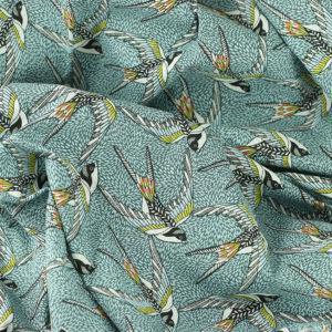 Tissu coton imprimé popeline Envol bleu © Eyrelles Tissus